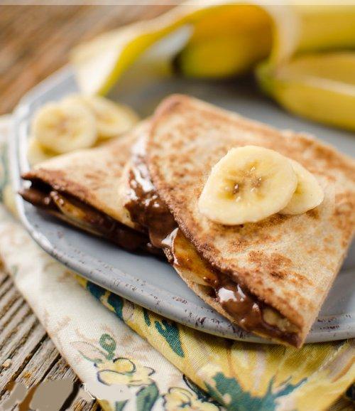 Quesadilla de mantequilla de cacahuete y plátano